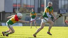 Shane Nolan in action against Carlow's Aaron Amond during the Joe McDonagh Cup third round clash in Austin Stack Park on Saturday afternoon. Photos by Domnick Walsh / Eye Focus