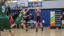 Action from the Division 3 Ladies Cup final between Horans Healthstores Tralee (green) and TK Vixens in the Tralee Sports Complex last Sunday