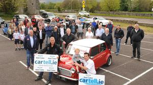 Members of Killarney and District Motor Club gathered for a 'Sunday Spin' to coincide with the traditional weekend of the annual cartell.ie International Rally of the Lakes. The spin was also dedicated to the memory of the late club officer Johnny Hickey, who always played such a prominent role in the rally. Included, in front, are Darren McCormick, Clerk of the Course, Dan Keane, Deputy Clerk of the Course, and the members who drove their own cars for a spin to Molls Gap, a stage that is synonymous with the rally. Photo by Eamonn Keogh