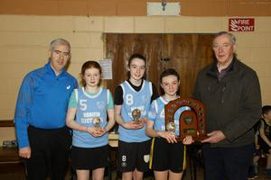 The Fifth and Sixth Class girls team who were winners of the St. Bridgets Currow Parish Blitz on Sunday, from left, Anthony Donnelly (St. Bridgets), Maeve Crowley, Katelyn Brosnan, Amy O'Sullivan and Billy Boyle. Photo by Con Dennehy