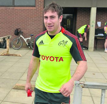 Munster's JJ Hanrahan makes his way out for squad training. Photo: Diarmuid Greene / SPORTSFILE