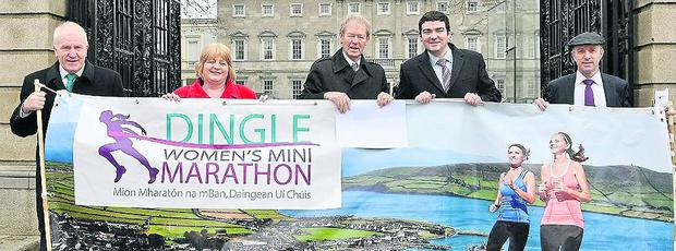 Launching the Dingle Women's Mini-Marathon outside the Dail were, from left: Minister Deenihan, Senator Maria Moloney, Micheal O Muircheartaigh, Brendan Griffin TD and Micheal Healy-Rae TD. Photo: Sportsfile
