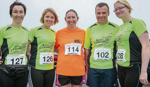 Tina Griffin, Siobhan Dowling, Theresa Grimes, David and Mary Toomey at the Half On The Head Marathon and 10k run in Ballyheigue on Sunday.