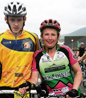 Kieran and Marie Buicke, Templeglantine, with Oliver Mawe, The Spa, Tralee, and Sheila Curtin, Knocknagoshel, participating in the Ring of Kerry Charity Cycle on Saturday.