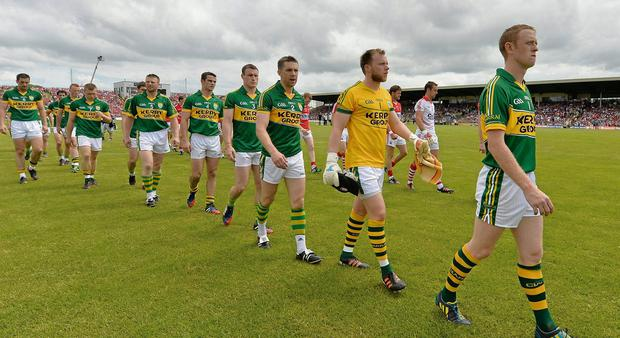 Kerry captain Colm Cooper leads his team during the pre-match parade. Munster GAA Football Senior Championship Final, Kerry v Cork, Fitzgerald Stadium, Killarney, Co. Kerry. Picture credit: Diarmuid Greene / SPORTSFILE