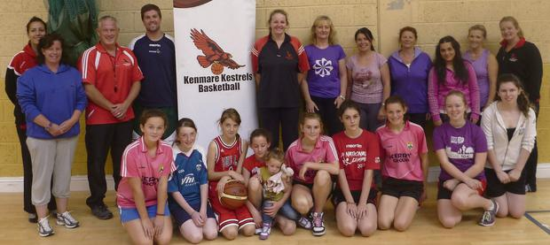 Kenmare Kestrels with Basketball Ireland's Paul Kelleher, of Glanmire Basketball Club, who recently paid the club a visit for a coaching course.