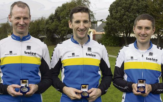 Tralee Manor West BC riders George Doyle, Jerry McCarthy and Cormac Daly,who won medals at the National Hill Climb Championships.