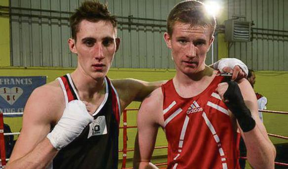 Antoine Vanackerein, left, from Belgium and Maurice Falvey from Ballybunion who competed in the 60kg weight category at the International boxing Tournament in Limerick