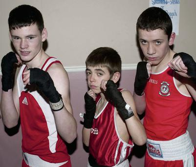 Jack O'Sullivan and Ryan Downey from Ballybunion and Jamie McVeigh, Listowel member's of the Cashen Vale boxing club waiting to get in ring at Tomaisin's Bar, Lisselton