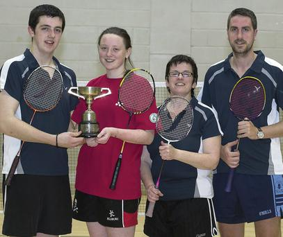 At the Division 3 Mixed Doubles Badminton Championships in Killarney last Friday were the Division 3 finalists, from left, James Flaherty and Maeve Twomey with runners-up Carmel Hudson and James Sheehan.