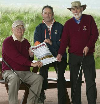 Captain of Ballybunion Golf Club Sean Kennelly, left, with Club President John Fox, centre, and vice-president Dominic Lynch launching the Captain's Charity Day to held on Sunday, May 4. Photo by Eye Focus Ltd