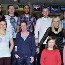 Management and staff members of Halfords Store Tralee at the their staff night out at the Kingdom Greyhound Stadium on Saturday. From left: Seanie Carroll, Luke King, Bryan Marau, assist manager, Nathan Caldwell, Stevie Griffith, Ciara Griffith, Berni Bartlett Maher, manager, and Lisa Martin with her daughters Kelsee and Jodie Moore