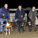 As they finished in the first semi-final, from left, Johnny O'Sullivan with Madabout Marco, John Sugrue with Fermoyle Amy and Ray Flemming with Fruitful Bounty after qualifying for the final of the St. Senans GAA Buster Sweepstake at the Kingdom Greyhound Stadium last Friday night