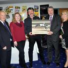 Pictured at the launch of The Irish Greyhound Review Annual vol. 38 are, from left, Michael Fortune, editor, Helen Dowling, Liam Dowling, who was named Personality of the Year, accepting his award from IGB chairman Phil Meaney, and Margaret Walsh, publisher