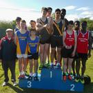 The Tralee CBS team that won bronze medals in the Junior Boys relay on the podium at the Munster Schools Track and Field Championships in Waterford