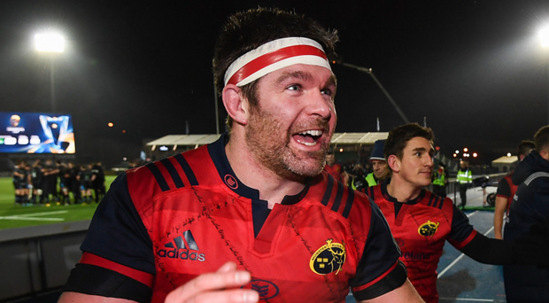 Billy Holland of Munster celebrates following the European Rugby Champions Cup pool 1 round 5 match between Glasgow Warriors and Munster at Scotstoun Stadium in Glasgow. Victory means Munster top the group and secure a place in the quarter-finals. A victory this weekend over Racing 92 at home would secure a home quarter-final. Photo by Stephen McCarthy/ Sportsfile