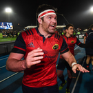 Billy Holland of Munster celebrates following the European Rugby Champions Cup pool 1 round 5 match between Glasgow Warriors and Munster at Scotstoun Stadium in Glasgow. Victory means Munster top the group and secure a place in the quarter-finals. A victory this weekend over Racing 92 at home would secure a home quarter-final. Photo by Stephen McCarthy/Sportsfile