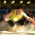 Anette O'Brien of Gneeveguilla AC, Co. Kerry, competing in the women's long jump during the Irish Life Health National Masters Indoor Championships 2017 at AIT International Arena, in Athlone, Co. Westmeath. Photo by EóinNoonan/Sportsfile
