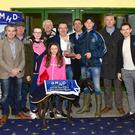 Left of Centre Sponsor and MD Denis Murphy presents the winning trophy to the winning Trainer/Owner Seán Meade after Paradise Marco won the 2017 GMHD.ie Insurances Juvenile Classic Final at the Kingdom Greyhound Stadium on Friday night. Included in the photo from left, Taigh Gallivan, Seán Hehir, Megan Horgan, Jack Meade, Sarah Meade, Declan Dowling (KGS/Mgr), Donal Healy, Simon Gallivan and Kieran Casey (KGS/Racing Mgr). Photo by deniswalshphotography.com