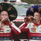 Navigator Killarney's Paul Nagle, left, and driver Kris Meeke of Citroen Total Abu Dhabi WRT team celebrate on the final podium during the FIA World Rally Championship Mexico on Sunday in Guanajuato, Mexico