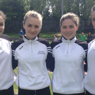 Intermediate girls from Pobalscoil Inbhear Sceine in Kenmare who all won medals at the South Munster Schools track and field championships recently. From left: Christine McCarthy, Rhona Randles, Elinor Dennison, Alyce O'Connor