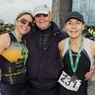 Sisters Susan and Angie O'Sullivan, from Tralee, with their father Dick after completing the 'Up The Creek Triathlon' in Kilrush Co. Clare. Photo by Stephen Kelleghan