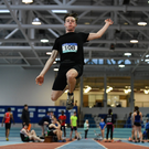 Cillian Griffin of Mercy Mounthawk, Tralee, competing in the Intermediate Boys Long Jump at the Irish Life Health All-Ireland Schools Combined Events at the AIT Arena in Athlone.