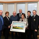 Tralee Golf Club Chairperson Teddy Reynolds, Lady Captain Margaret O'Shea, JJ Young, Adrienne Young, Club President Neal Timlin, Lady President Barbara Reen, and Men's Captain Kevin McCarthy. Photo by Domnick Walsh