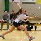 Niamh Hickey, Killarney Club, in action at the Munster Graduate Badminton competition where she won the Ladies Doubles and Mixed Doubles and was runner-up in the Singles competition at the Killarney Sports & Leisure Centre last Sunday.