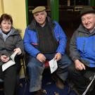 Brenda Clifford, Jim Lynch and John Corcoran keeping an eye on all the racing action while attending the Kingdom Greyhound Stadium. Photo: www.deniswalshphotography.com