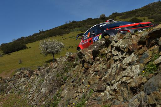 Kris Meeke of Great Britain and Paul Nagle of Ireland compete with their Citroen Toal Abu Dhabi WRT Citroen C3 WRC during Day Two of the WRC France on April 7, 2018 in Ajaccio, France. Photo by Massimo Bettiol/Getty Images
