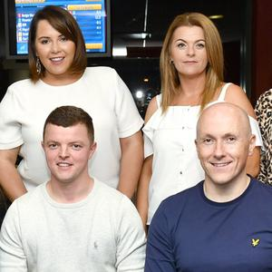 Employees from the McCarthy Insurance Group in Tralee enjoying their social group night out at the dogs on Friday. Standing, from left: Lorraine Griffin, Siobhan Flynn, Karen Kearney, Aisling Scannell and Laura Cunningham. Seated, from left: Kevin Sugrue, Mike Leen and Marke Noonan