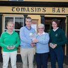 Prizewinners in The Kerryman's Captain's Challenge at Castlegregory Golf Club on Saturday, from left Peggy O'Donoghue (Killarney, second), Pat Doody (captain Castlegregory Golf Club), Helen Harty (Castlegregory winner) and Catriona Daly (Dooks, third