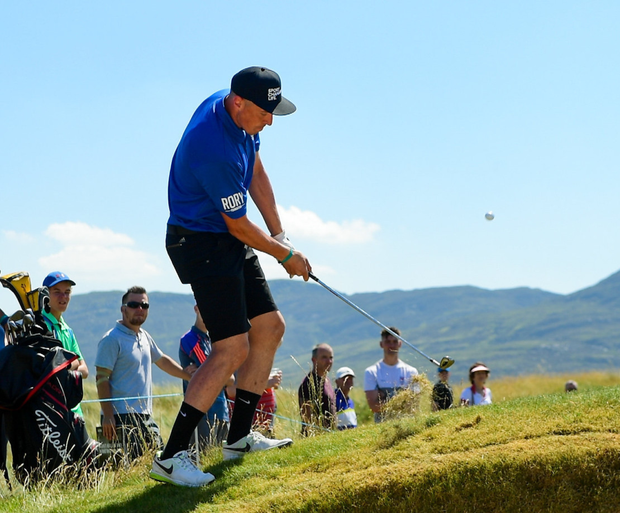 Kerry footballer Kieran Donaghy on the 16th hole during the Pro-Am round ahead of the Irish Open Golf Championship at Ballyliffin Golf Club in Ballyliffin, Co. Donegal. Photo by Sportsfile