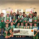 Champions of the U-12 KBAA Division 3 Girls Plate are St.Brendans, Tralee who played an impressive game of basketball against St. Bridgets, Currow on Sunday in Killarney. Back left to right Grace O'Donnell, Aisling Browne, Mairead Kelly (Coach), Elsie Peig Rogers, Terry Healy(Sponsor), Lauren Cotter, Anne Marie Healy (sponsor), Abigail O'Shea, Deirdre Lynch (Coach) with team mascot baby Ciarán Hartnett, Kate Sweeney, Anna O'Shea(Coach), Lilly Silong. Front left to right Tess O'Neill, Emma Greensymth, Eve Broderick, Aoife Hartnett, Amy and Brìd O'Shea, Leila O'Halloran, Taylor Stack Shanahan.