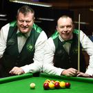 Mike Moriarty, Brosna and Philip Lawlor, Tralee members of the Irish team in the final against France of the European Eightball Pool Championship in the INEC, Killarney on Friday. Photo by Michelle Cooper Galvin