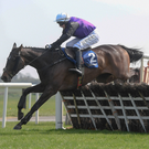 The Holy One, with Paddy Kennedy up, clear the last on their way to winning the Farmhouse Foods Novice Handicap Hurdle during the Fairyhouse Easter Festival - Irish Grand National day at Fairyhouse Racecourse in Ratoath, Meath