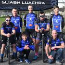 The Sliabh Luachra Cycling Club team Finn Murphy,Anthony Tancred (back from left) Richard O'Brien, John O'Sullivan, Tom Shanahan, Richard Cleverly and Donie Kelleher participating in the Rás Mumham in Killorglin