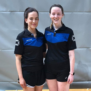 ElaineHudson from Moyvane (left) and Maeve Twomey from Killarney who captured the FZ Forza Irish Grade D Ladies Doubles Championship at the National Arena in Dublin last Saturday