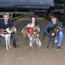 Qualifiers from the first semi-final of the 2019 Tilemaster Kingdom Derby at the Kingdom Stadium on Friday night. From left, John Slattery with Sign On AKI, Sophie Dowling with Akelawre and Timmy Holland with Blue East