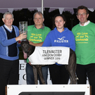 Sponsor John O'Shea (Tilemaster)presents the winner's trophy to Tom Morrisroe on behalf of the owner Larry O'Rourke after Blue East won the 2019 Tilemaster Kingdom Derby Final at the Kingdom Stadium on Saturday. Included, from left, are Tommy Dowling, Lorraine O'Connor and Declan Dowling (KGS manager). Photobywww.deniswalshphotography.com