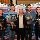 Rob Duggan and Ger Conway, overall winners of the Rentokil Initial Killarney Historic Rally, Michael O' Mahoney (Rentokil Initial Ireland Managing Director), Colin O'Donoghue and Sean Collins, overall modified winners, at the Rentokil Initial Killarney Historic Rally prizegiving ceremony at The Gleneagle Hotel, Killarney on Saturday night