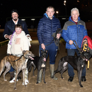The qualifiers from the first semi-final of the Kingdom Stadium ON3 Stakes over 525yds, from left (as they finished), Dan and Katie Nolan with Ardrahan Justice, James O'Rourke with Coolemore Lucie, and Chris Houlihan with Casheen Gobi, at the Kingdom Greyhound Stadium on Saturday. Photo by www.deniswalshphotography.com