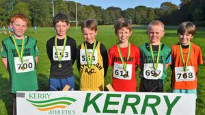 The first six boys home in the Kerry Athletics U-9 cross-country championships in Killarney on Sunday, from left in order of finishing: Garrett Lovett (Spa Fenit Barrow), Séamus Hallissey (Iveragh AC), Conor County (Iveragh AC), Alistair O'Sullivan (Kenmare AC), Oran Flaherty (Spa Fenit Barrow AC) and Páidí Muircheartaigh (Star of the Laune AC). Photos by David Kissane