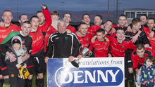 Tralee Dynamos celebrating their winning the Denny Division 1A Final at Mounthawk Park