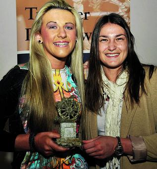 n Captain of the All Ireland U17 women's soccer team, Savanna McCarthy with Olympic Gold Medalist Katie Taylor at the Traveller Pride Awards 2013 held in Dublin last week.