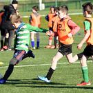 Josh Bowler, Killarney Celtic puts the ball across goal against Camp in the Kerry Schoolboys Under 11 at Celtic Park, Killarney on Saturday.Photo by Michelle Cooper Galvin