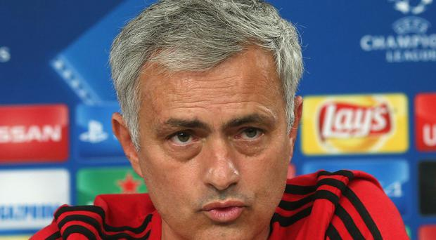 LISBON, PORTUGAL - OCTOBER 17: Manager Jose Mourinho of Manchester United speaks during a press conference ahead of their UEFA Champions League match against Benfica on October 17, 2017 in Lisbon, Portugal. (Photo by John Peters/Man Utd via Getty Images)