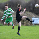 Jack Sheahan, Listowel Celtic, and Conor O'Brien, St Brendans Park (black), in action during their Denny Youths League game in Listowel at the weekend. The Park progressed to the semi-finals of the competition after a 2-1 win. Photo by Domnick Walsh