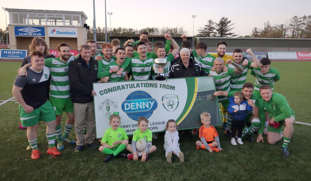 Killarney Celtic celebrate winning the Premier A title after their replayed final win over Castleisland at Mounthawk Park. Photos by Domnick Walsh